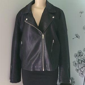 Topshop Faux Leather Biker Jacket